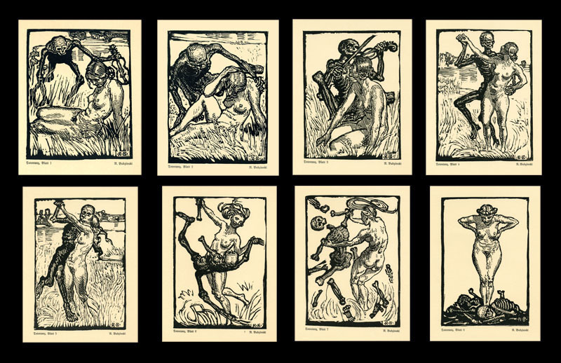 Totentanz (portfolio of 8 woodcuts) by Robert Budzinski