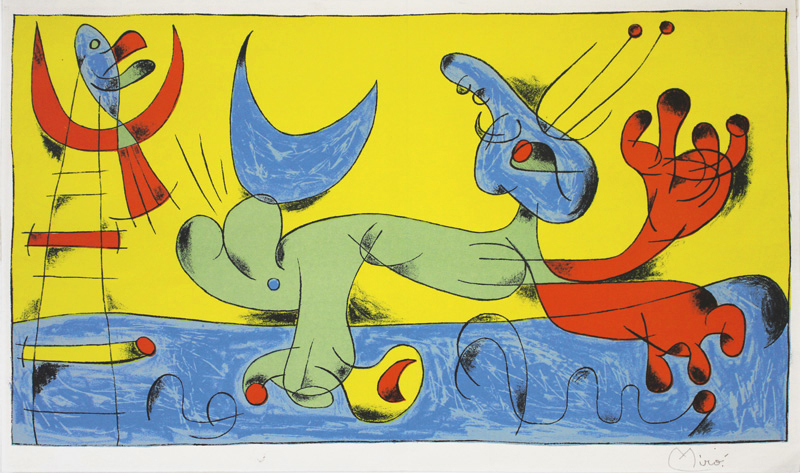 Animaux - Composition 7 for Joan Miro par Jacques Prevert by Joan Miro