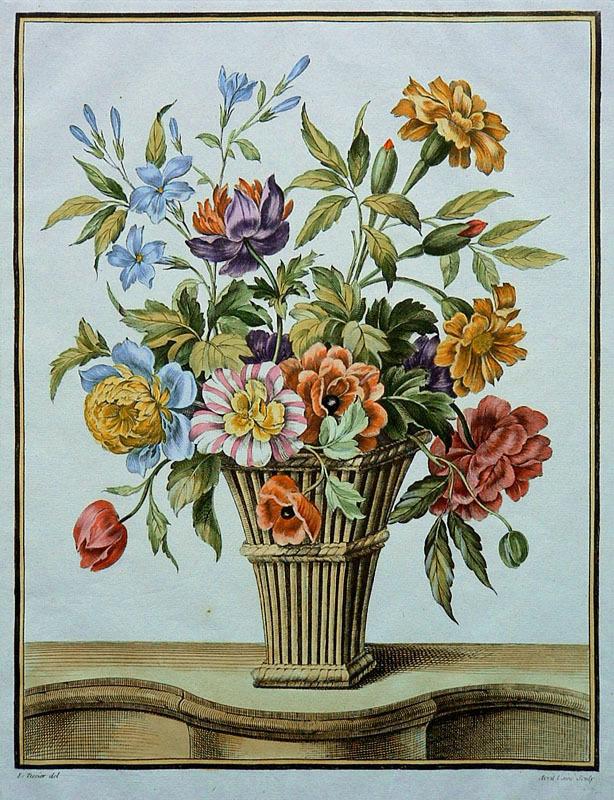Floral bouquet engraved by j j avril l 39 aine for livre for Livraison bouquet de fleurs kenitra