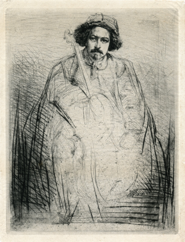 J. Becquet, Sculptor (The Fiddler)  plate 8 from A Series of Sixteen Etchings of Scenes on the Thames by James Abbott McNeill Whistler